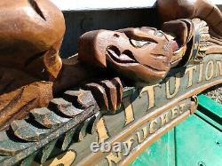 Vtg BELLAMY Folk Art Hand Painted Carved Wood Eagle Americana Yacht Name Plaque