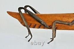 Vtg Mid Century Modern Carved Wood Brass Folk Art Grasshopper Sculpture Sarreid