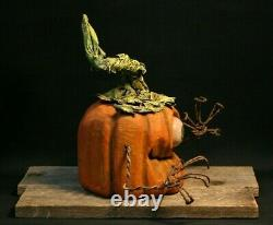 Whimsical Cyclops Pumpkin Wood Carving, Chainsaw Carving, Wood Art, SHRUM