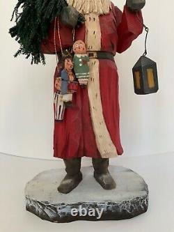 Whimsical whittler Santa Vaughan Rawson 2005 ltd. Ed. 30/80 carved wood folk art