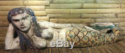 Wood Hand Carved Mermaid Lying on Side Vintage Folk Art Painted Nautical Decor