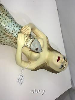 Wooden Hand Carved Mermaid hanging Statue Folk Art Painted Nautical
