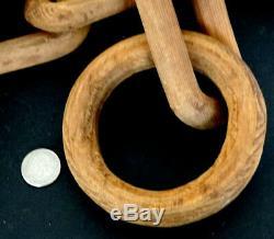 13 Pieds Antique 1800 Sculpté Bois Prison Clochard Folk Art Chain carving Sculpture