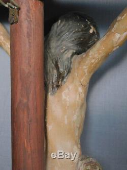 18ème Siècle Sculpté Polychrome Bois Santo Corpus Jésus-christ Crucifix Art Populaire