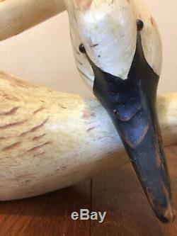 1980 Vtg 24 Américain Art Folk Bois Swan Sculpture Signée USA Appeau
