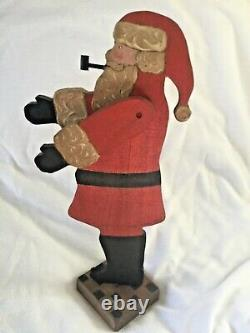 1983 Nancy Thomas Main Sculpté Bois Peint Bois Folk Art Santa Claus Noël