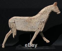 19ème Siècle Art Folk Painted Sculpté Bois Corsé Running Horse Girouette