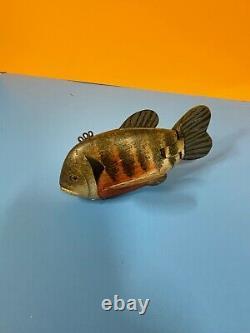 1 Grand Art Folk Vintage Poisson Peint En Bois Sculpté Pêche Lure Decoy R Brooks