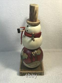 2003 Sticks Meubles Sarah Grant Let It Snow Carved Snowman Folk Art