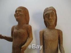 2 Grand Vintage Sculptures En Bois Sculptures D'art Populaire Ada Et Eve Mexique Naive