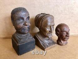 3 Antique Folk Art Primitive Carved Hardwood Heads, Bustes, Old People