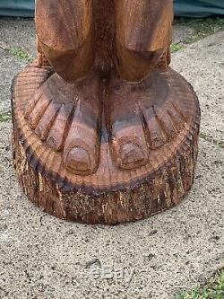 3ft Large Antique Hawaïenne Tiki Sculpté À La Main En Bois K Dieu Statue Folk Art Wow