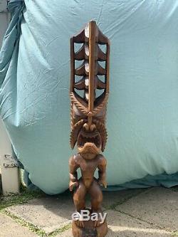 3ft Large Antique Hawaïenne Tiki Sculpté À La Main En Bois Lono Dieu Statue Folk Art Wow