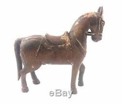 Aafa Antique Statue Équestre Sculpté Cheval En Bois Figure Bois Folk Art