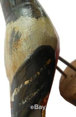 Aafa Au Début Des Années 1900 Art Antique Folk Sculpté À La Main En Bois D'oiseau