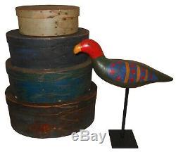 Aafa Début Des Années 1900 Folk Art Antique Primitif Parrot Oiseaux Peinture Pour Bois Sculpté