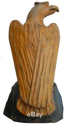 Aafa Fin Des Années 1800 Ou Au Début Des Années 1900 Folk Art Antique Bois Sculpté Oiseau Eagle Fédéral