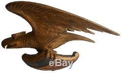 Aafa Folk Art Antique Pilot House Gild Eagle Main En Bois Sculpté Nouvelle-angleterre