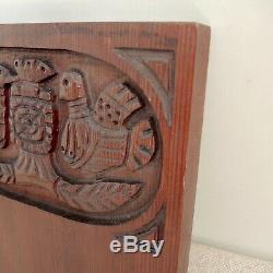 Ackerman Evelyn Swedish Folk Art Oiseaux En Bois Sculpté Panneau Plaque MCM Moderniste