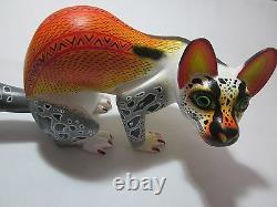 Alebrije Oaxacan Wood Carving Sculpture Ocelot Par Sergio Aragon Mexican Folk Art