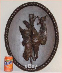 Allemand Black Forest Carved Antique Des Animaux De Plaque De Jeu 17 X 14 Art Populaire