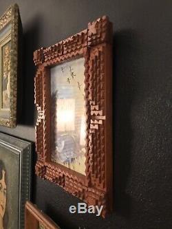 Américain Antique En Bois Sculpté Clochard Art Cadre Photo Couches Art Populaire En Bois