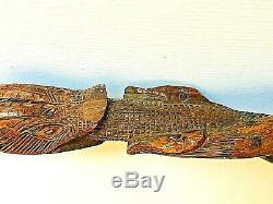 American 19ème Siècle Antique Bois Folk Art Sculpté À La Main Serpent Walking Cane 32