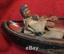 American Folk-art En Bois Sculpté Indien Canoe Pull Toy