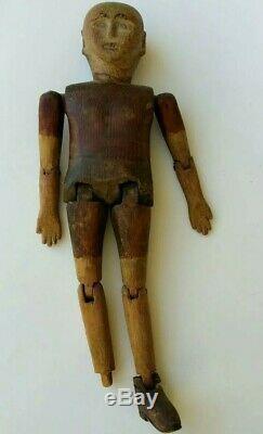 Americana Antique En Bois Sculpté Folk Art Danse Doll Toy 19ème / 20ème Siècle