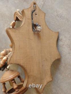 Ancien Mur Laml Lumière Épeautre Forêt Noire Bois Carving Lanterne Folk Art Country