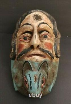 Ancien Vintage Hand Carved Theater Lizard Face Masque Plaque Murale Folk Art Gothique