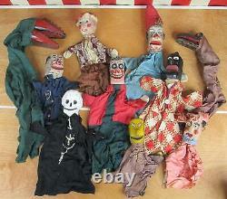 Anciennes Main En Bois Marionnettes Sculpte 10 Au Début Des Années 1900 Folk Art Punch & Judy
