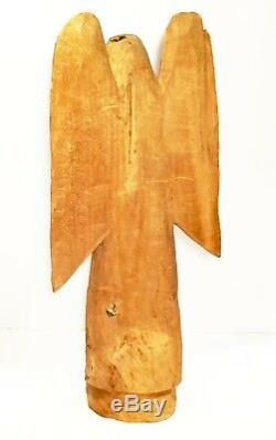 Ange En Bois Sculpté À La Main. Rustique. Santo Art Populaire. Présence Pacifique. 16 Haut