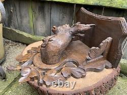 Anticique German Black Forest Deer Wall Bracket Étagère En Bois Sculpté À La Main Art Populaire