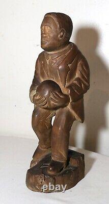 Antique 1800's Folk Art Main Sculpté En Bois Figural Homme Sculpture Statue Figure