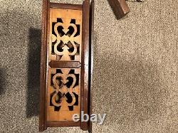 Antique 1800s Folk Art Hand Carved Inlaid Wooden Box With 4 Compartiments- Aafa