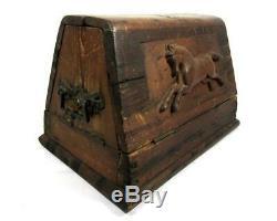 Antique 19thc Boite A Outils Carved Cheval Folk Art Aafa Farrier / Primitive / Bois