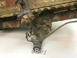 Antique 19thc Italienne Folk Art Sculpté Petite Chèvre Panier Alfio Peintures