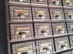 Antique 28 Drawer Oak Hardware Store Counter Top Cabinet Chip Carved Folk Art
