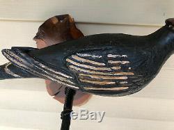 Antique Allemand De Pennsylvanie Sculpté Folk Art Fil Rouge Leg Pic À Tête Blanche Oiseaux