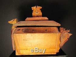 Antique American Folk Art Bois Tabac Porte-bagages Cat Fox Dog Cheval Marin Aigle Ia