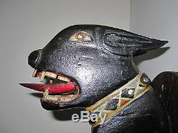Antique American Folk Art Pitbull Masterpiece Dog Jewel Collier De Peinture Originale