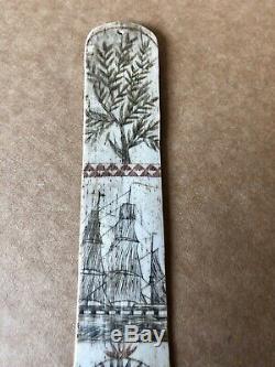 Antique Amérique Sailors Sculpté À La Main Folk Art Corset Busk, Début Du 19ème Siècle