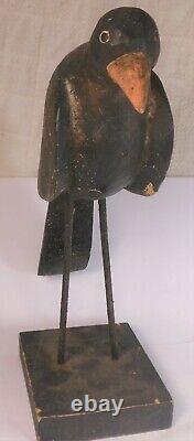 Antique Art Magnifique Folk Sculpté Et Peint Stylisé Corbeau Figure 14 ' ' Long
