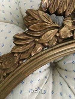 Antique Art Populaire Aigle En Bois Sculpté À La Main D'or Américain Round Wall Mirror Cadre