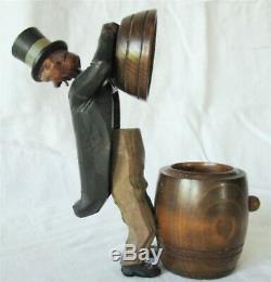 Antique Art Populaire Bobble Tête Sculptée Cigarette Herb Case Man Distributeur Wc Fields