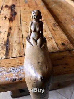 Antique Art Populaire Main Nue Sculpté Bâton De Marche, Canne, Naive, Vilain