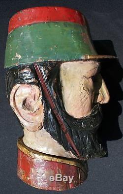 Antique Art Populaire Mexicain Life-size Polychrome Main Sculpté Head Bois Agent