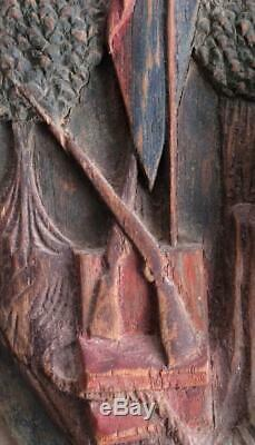 Antique Art Populaire Panneau Sculpté Signe Commercial Pub Taverne Tôt Americana Lady Liberty