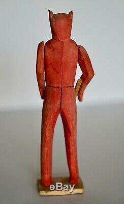 Antique Art Populaire Primitif Sculpté À La Main En Bois Handcrafted Doll 8